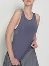 Casual Solid Color Fitness Yoga Vest Tops For Women-Grey 1