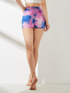 Comfortable Tie-Dye Gym Workout Yoga Shorts-Purple 2
