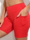 Fashion Basic High Waist Legging Shorts For Women-Red 2