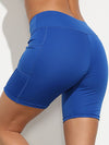 Fashion Basic High Waist Legging Shorts For Women-Sapphire Blue 1