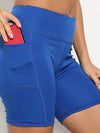 Fashion Basic High Waist Legging Shorts For Women-Sapphire Blue 2