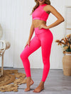 Classic Sleeveless Yoga Sets With Long Leggings-Pink 3