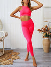 Classic Sleeveless Yoga Sets With Long Leggings-Pink 4