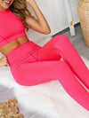 Classic Sleeveless Yoga Sets With Long Leggings-Pink 1