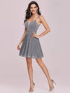 Spaghetti Strap Shiny Pleated Mini Cocktail Dress-Grey 8