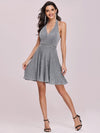 Halter Deep V Neck Low Back Sleeveless Pleat Prom Dresses-Grey 4