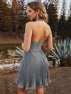 Halter Deep V Neck Low Back Sleeveless Pleat Prom Dresses-Grey 2