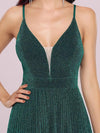 Spaghetti Strap V Neck Shiny Above Knee Cocktail Dress -Dark Green 5