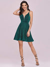 Spaghetti Strap V Neck Shiny Above Knee Cocktail Dress -Dark Green 4