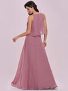 Beaded Floor Length Halter Neckline Evening Dress-Orchid 4