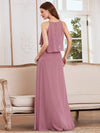 Beaded Floor Length Halter Neckline Evening Dress-Orchid 2