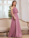 Beaded Floor Length Halter Neckline Evening Dress-Orchid 1