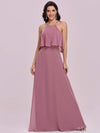 Beaded Floor Length Halter Neckline Evening Dress-Orchid 3