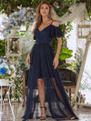 2In1 Deep V Off Shoulder Applique Short Evening Dress Long Tulle-Navy Blue 1