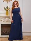 Plus Size Sleeveless Floral Applique A-Line Evening Gown-Navy Blue 2