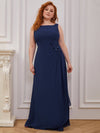 Plus Size Sleeveless Floral Applique A-Line Evening Gown-Navy Blue 3