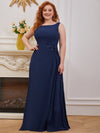 Plus Size Sleeveless Floral Applique A-Line Evening Gown-Navy Blue 1
