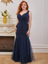 Plus-Size V-Neck Fishtail Prom Dress With A-Line Skirt -Navy Blue 2
