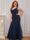 Plus-Size V-Neck Fishtail Prom Dress With A-Line Skirt -Navy Blue 3
