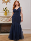 Plus-Size V-Neck Fishtail Prom Dress With A-Line Skirt -Navy Blue 1