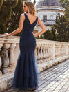 Elegant Deep V-Neck Tulle Fishtail Maxi Evening Dress-Navy Blue 2