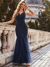 Elegant Deep V-Neck Tulle Fishtail Maxi Evening Dress-Navy Blue 3