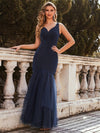 Elegant Deep V-Neck Tulle Fishtail Maxi Evening Dress-Navy Blue 4