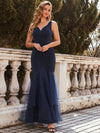 Elegant Deep V-Neck Tulle Fishtail Maxi Evening Dress-Navy Blue 1