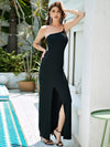One Shoulder High-Slit Pencil-Cut Long Evening Dress-Black 1
