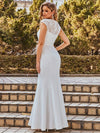 Simple Cap Sleeve Sweetheart Mermaid Style Wedding Dress-Cream 2