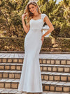 Simple Cap Sleeve Sweetheart Mermaid Style Wedding Dress-Cream 3