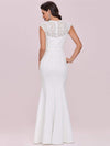 Simple Cap Sleeve Sweetheart Mermaid Style Wedding Dress-Cream 5