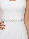 Simple Cap Sleeve Sweetheart Mermaid Style Wedding Dress-Cream 7