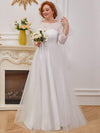 Romantic A-Line Plus Size Tulle Wedding Dress With Lace-Cream 1