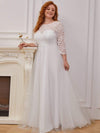 Romantic A-Line Plus Size Tulle Wedding Dress With Lace-Cream 4