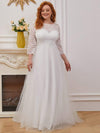 Romantic A-Line Plus Size Tulle Wedding Dress With Lace-Cream 2