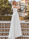 Romantic Lantern Sleeve Deep V-Neck Wedding Gown With Appliques-Cream 2