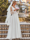 Romantic Lantern Sleeve Deep V-Neck Wedding Gown With Appliques-Cream 3