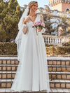 Romantic Lantern Sleeve Deep V-Neck Wedding Gown With Appliques-Cream 4