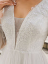 Romantic Lantern Sleeve Deep V-Neck Wedding Gown With Appliques-Cream 5