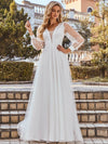 Romantic Lantern Sleeve Deep V-Neck Wedding Gown With Appliques-Cream 1