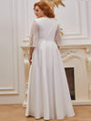 Elegant Applique A Line Simple Wedding Dress With Half Sleeves-Cream 2