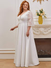 Elegant Applique A Line Simple Wedding Dress With Half Sleeves-Cream 3