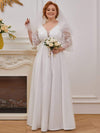 Elegant Applique A Line Simple Wedding Dress With Half Sleeves-Cream 4