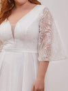 Elegant Applique A Line Simple Wedding Dress With Half Sleeves-Cream 5