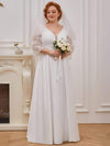 Elegant Applique A Line Simple Wedding Dress With Half Sleeves-Cream 1