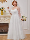 Plus Size A-Line Tulle Wedding Dress With Long Sleeves-Cream 1