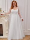 Plus Size A-Line Tulle Wedding Dress With Long Sleeves-Cream 4