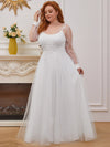 Plus Size A-Line Tulle Wedding Dress With Long Sleeves-Cream 2