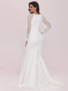 Long Lace Lantern Sleeves Simple Mermaid Wedding Dress-Cream 5